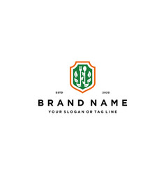 Healthy food shield logo design vector