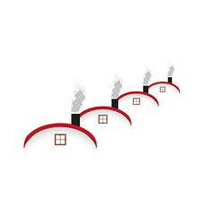 houses and rounded roof and smoking chimney vector image