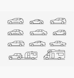 Icon set transportation car transport symbol vector