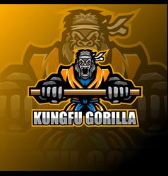 kungfu gorilla esport mascot logo vector image