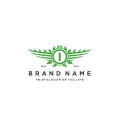 Letter i leaf wing logo design concept vector
