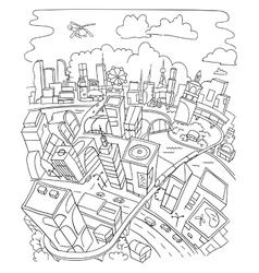 Line draw futuristic city architecture vector
