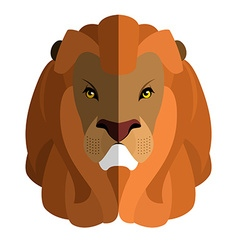 Lion Head flat style Large fluffy mane Ferocious vector image