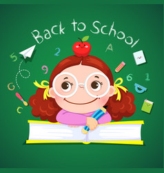 little girl for back to school vector image
