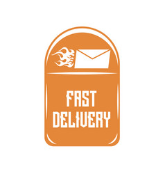 Logo of quick delivery of letters on an orange vector