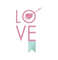 Love greeting card with heart arrow and banner vector