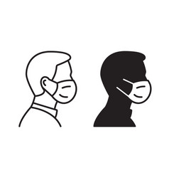 Man profile face in medical mask icon on white vector