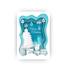 merry christmas paper cut evergreen tree and gifts vector image