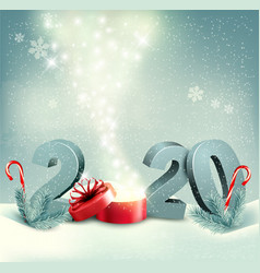 Merry christmas retro background with 2020 and vector