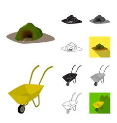 Mining industry cartoonblackflatmonochrome vector