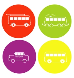 Monochrome icon set withbus trolleybus tram and vector