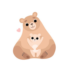 Mother bear and its baby cute forest animal vector