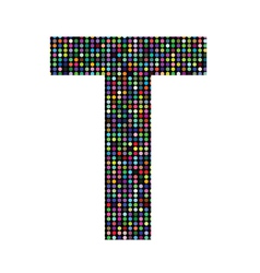 Multicolor letter T vector