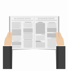 newspaper in businessman hands daily business vector image