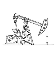 Oil rig engraving vector