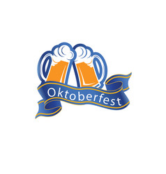 oktoberfest ribbon two glasses of beer imag vector image