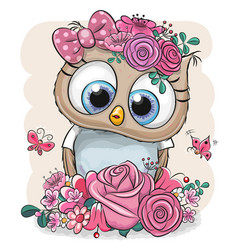 owl with flowers on a white background vector image