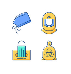 Personal protective equipment rgb color icons set vector