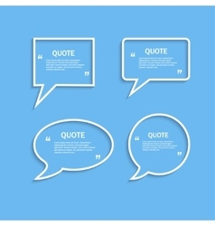 Quote outline speech bubble set vector