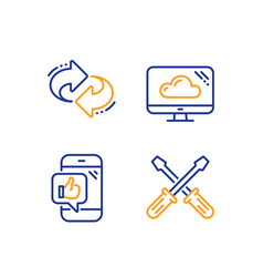 refresh cloud storage and mobile like icons set vector image