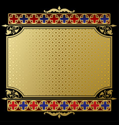 Retro label and banner with gold wintage ornament vector