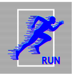 running man silhouette with glitch effect vector image