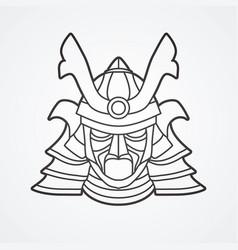 Samurai mask helmet head weapon vector