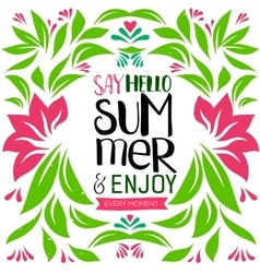 Say Hello Summer lettering vector image