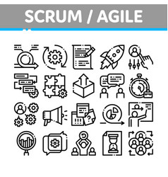 Scrum agile collection elements icons set vector