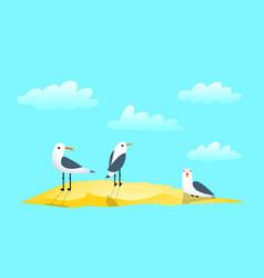 seagulls sand and clouds marine clip art cartoon vector image