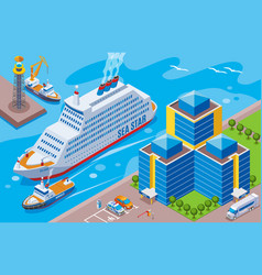 seaport isometric colored concept vector image