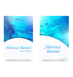 set blue watercolor abstract banners vector image