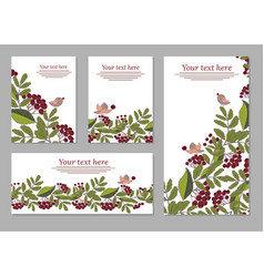 set of cards posters flyers with floral ornaments vector image