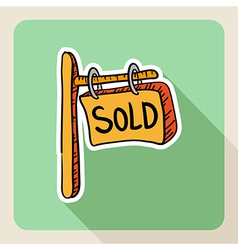 Sketch style real estate sold post sign vector
