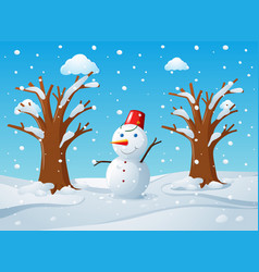 Snowman in the middle of the snow ground vector