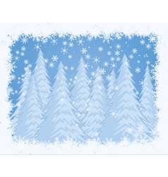 snowy pine forest winter background vector image