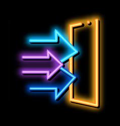 sound coming in door neon glow icon vector image