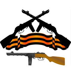 soviet machinegun and georgievsky ribbon vector image
