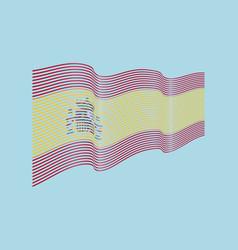 spain flag on blue background wave stripes vector image