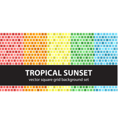 Square pattern set tropical sunset seamless vector
