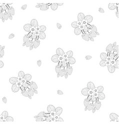 Strawberry and flower outline seamless on white vector