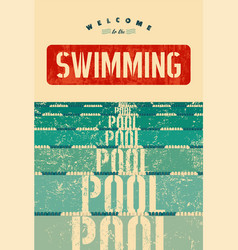Swimming pool typographical vintage grunge poster vector