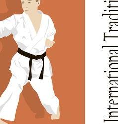 The emblem the young man is engaged in karate vector
