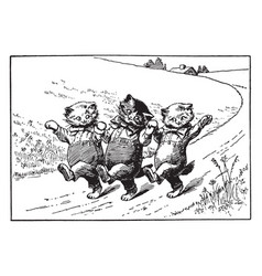 Three kittens 1 vintage vector