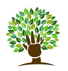 Tree hand symbol logo vector