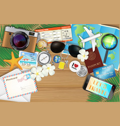 tropical travel object set on wood background vector image