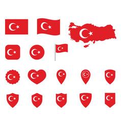 turkey flag icon set flag republic of vector image