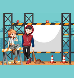 Two street kids and blank frame vector