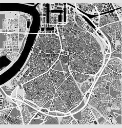 Urban city map of antwerp poster black grayscale vector