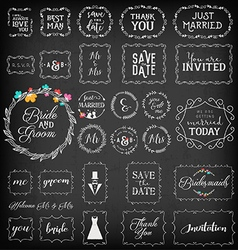 Vintage Wedding Frame Collection on Chalkboard vector